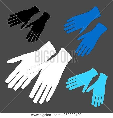 Hands Protective White, Blue And Black Gloves On Grey. Vector Latex Gloves As A Symbol Of Protection