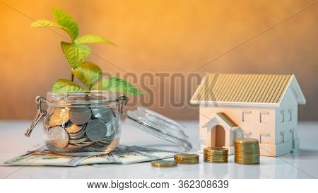 Real Estate Investment Or Property Ladder. Home Mortgage Loan Rate. Saving Money For Future Concept.