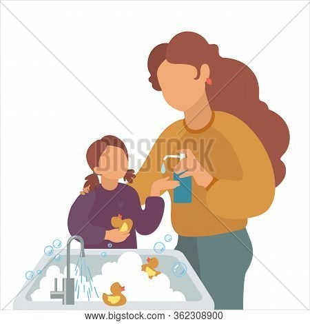 Mother Washes The Girls Hands With Liquid Soap. Vector Illustration Mom And Daughter. Wash Your Hand