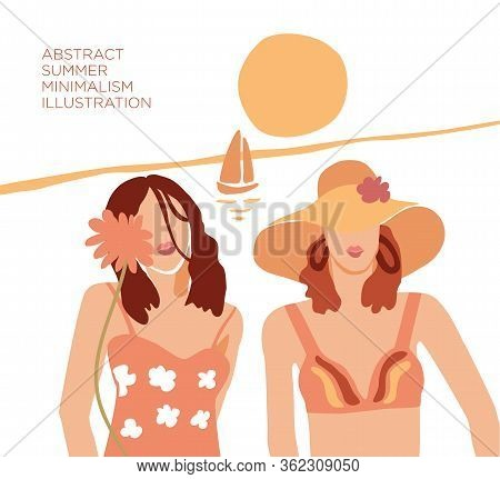 Vector Hand Drawn Illustration Of Abstract Modern Two Young Women Portrait Silhouettes On The Beach.