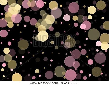 Pink Gold Confetti Circle Decoration For Party Poster Background. Bokeh Lights Effect Vector. Gold,