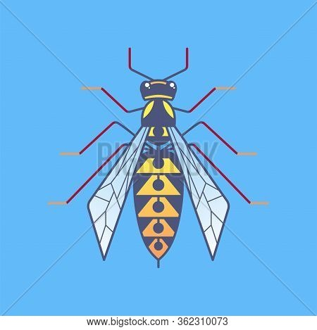 Wasp Outline Icon. Wildlife Striped Insect In Flat Style. Hornet Symbol For Logo And Web Design, Bra