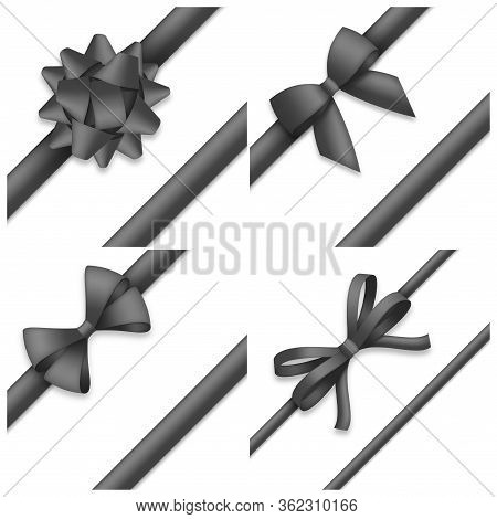 Collection Of Decorative Black Bows. Funeral Procession Decor Isolated On White Background