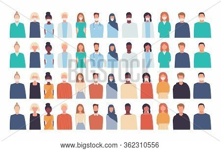 Vector Set. Illustrations, Icons In Flat Style Of People Isolated On White. Modern Multicultural, Mu
