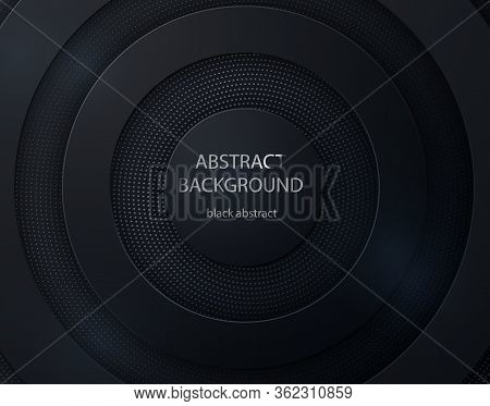 Black Paper Cut Round Background. Abstract 3d Background With Black Paper Layers
