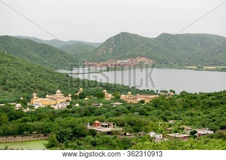 Landscape Of Man Sagar Lake With Hanuman Temple And Govind Devji Near Jaipur City, India