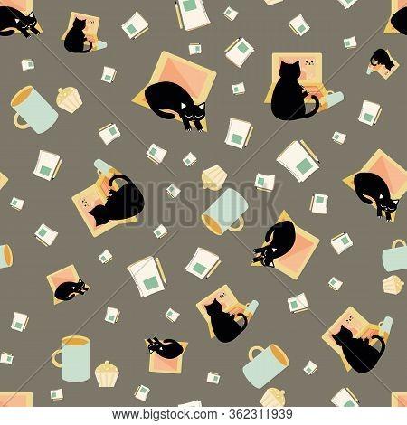 Cute Cartoon Cat And Laptop Vector Seamless Pattern Background. Black Feline Interrupting Business O