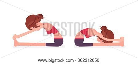 Young Yogi Woman Practicing Yoga, Doing Seated Forward Bend Exercise, Paschimottanasana Pose, Attrac