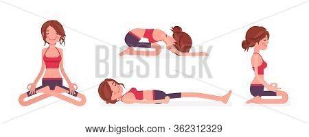 Young Yogi Woman Practicing Yoga In Restorative And Seated Poses, Padmasana, Lotus Variation, Child,