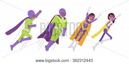 Male, Female Super Hero In Bright Costume, Flying Attack Poses. Attractive Strong Brave Warriors, Su