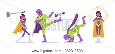 Male And Female Super Hero In Bright Costume, Superior Great Poses. Powerful Strong Brave Warriors,