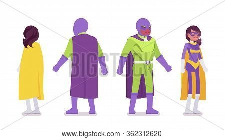 Male And Female Super Hero In Bright Costume Standing. Heroic Strong Brave Warriors, Superpower Peop