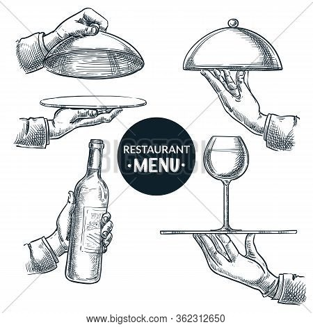 Waiters Hands Holding Open And Closed Trays. Vector Hand Drawn Sketch Illustration, Isolated On Whit