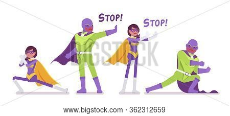 Male, Female Super Hero In Costume, Fight And Stop Pose. Attractive Heroic Strong Brave Warriors, Su