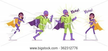 Male And Female Super Hero In Bright Costume Acting Heroically. Attractive Strong Brave Warriors, Su