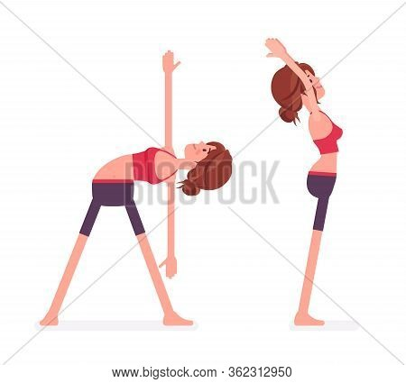 Young Sporty Yogi Woman Practicing Yoga, Standing Poses, Mountain, Tadasana Variation, Utthita Triko