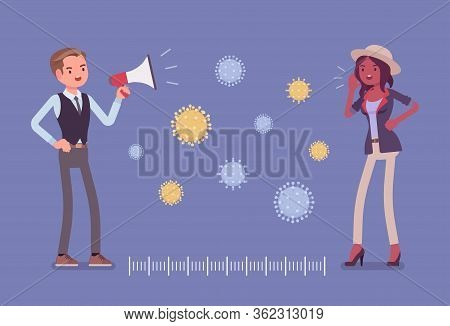 Safe Distance As Protection Measure Against Virus. Man And Woman Speaking Far Away With Megaphone, F