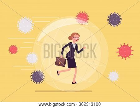Safe Bubble Against Virus, Infection. Businesswoman, Happy Healthy Girl Well Protected From Being In