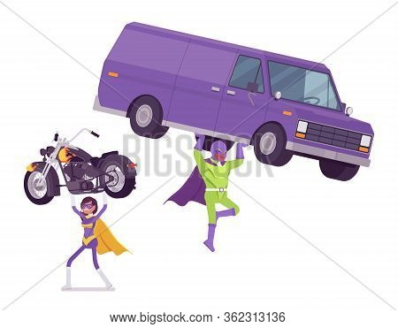 Male, Female Super Hero In Bright Costume Carrying Bike, Van. Heroic Strong Brave Warriors, Superpow