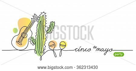 Cinco De Mayo, Means 5 May, Party Simple Vector Background. Mexican Minimalist Illustration And Cinc