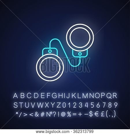Criminal Drama Neon Light Icon. Outer Glowing Effect. Sign With Alphabet, Numbers And Symbols. Popul