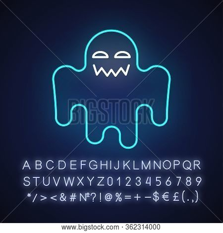 Horror Movie Neon Light Icon. Outer Glowing Effect. Sign With Alphabet, Numbers And Symbols. Scary F