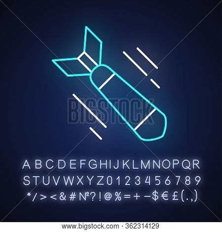 War Movie Neon Light Icon. Outer Glowing Effect. Sign With Alphabet, Numbers And Symbols. Military F
