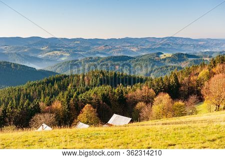 Warm Light Sunset Panorama View Of  Beskydy Mountains With Fog In The Valley And Blue Cloudless Sky,