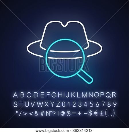 Detective Neon Light Icon. Outer Glowing Effect. Sign With Alphabet, Numbers And Symbols. Traditiona