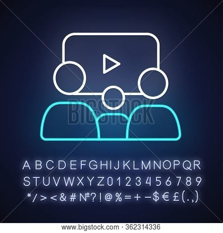 Family Picture Neon Light Icon. Outer Glowing Effect. Sign With Alphabet, Numbers And Symbols. Filmm
