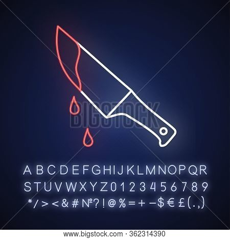Thriller Movie Neon Light Icon. Outer Glowing Effect. Sign With Alphabet, Numbers And Symbols. Suspe
