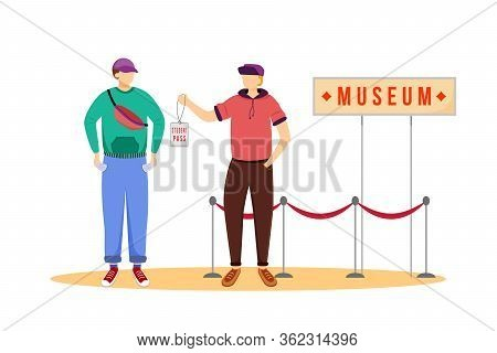 Student Pass For Museums Flat Vector Illustration. Cheap Travelling Ideas. Discount For Students. Fr