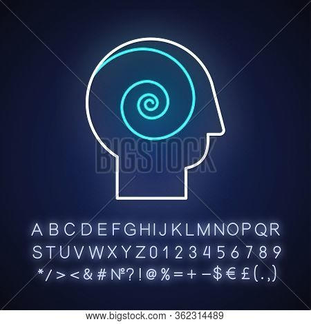 Philosophical Film Neon Light Icon. Outer Glowing Effect. Sign With Alphabet, Numbers And Symbols. F