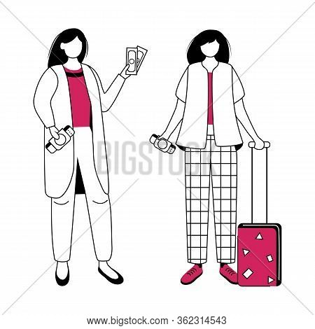 Preparation For Vacation, Holiday, Trip Flat Contour Vector Illustration