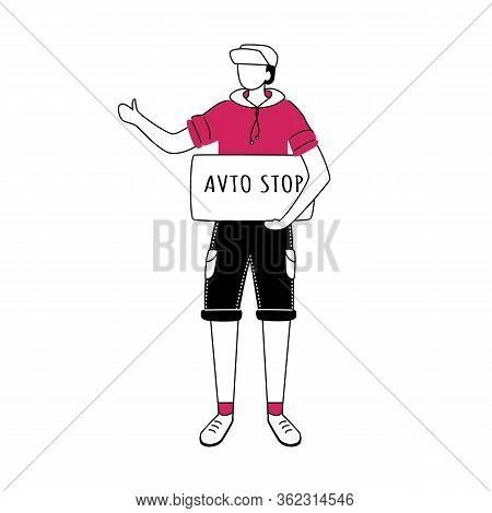 Hitchhiking Flat Contour Vector Illustration