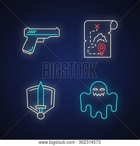 Common Movie Genres Neon Light Icons Set. Action, Adventure, History Epic And Horror Films Signs Wit