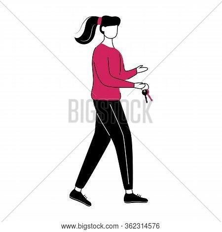 Girl With Keys Flat Contour Vector Illustration
