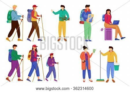 Budget Tourism Flat Vector Illustrations Set. Active Trip To Mountains, Forest. Hiking And Camping.