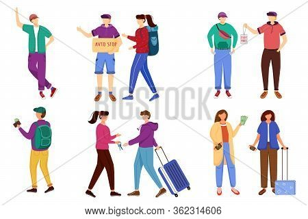 Budget Tourism Flat Vector Illustrations Set. Getting Ready For Trip. Discounts For Students. Rentin