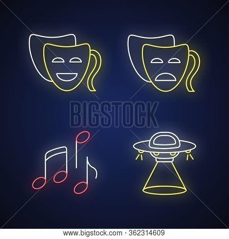 Traditional Movie Genres Neon Light Icons Set. Funny Comedy, Serious Drama, Musical And Science Fict
