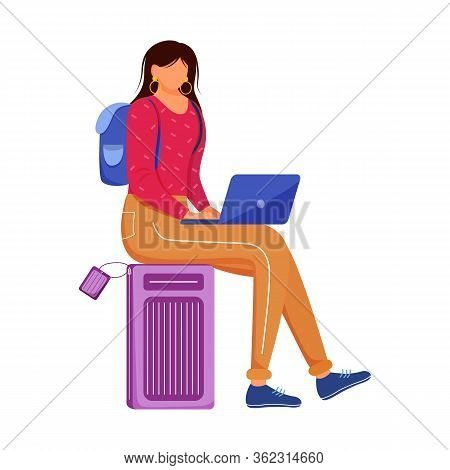 Using Laptop During Travelling Flat Vector Illustration