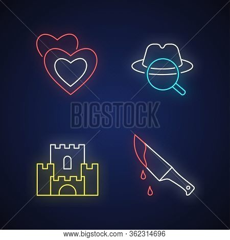 Popular Movie Types Neon Light Icons Set. Romantic Films, Detective Mystery, Fantasy And Thriller Si