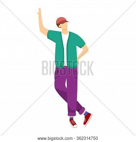 Young Boy Standing With Legs Crossed Flat Vector Illustration
