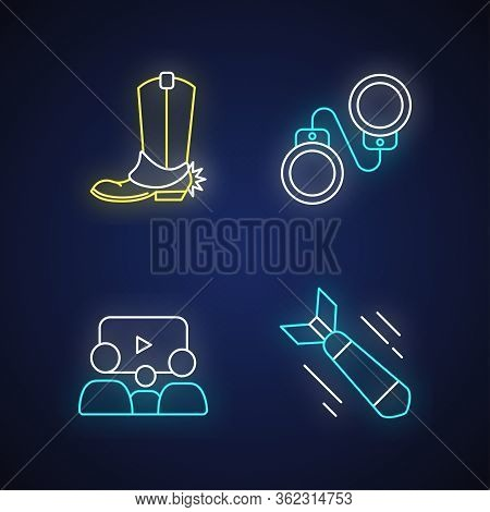Different Film Genres Neon Light Icons Set. Western Movie, Family Picture, Criminal And War Drama Si