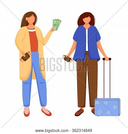Preparation For Vacation, Holiday, Trip Flat Contour Vector Illustration. Voyage With Friend. Budget
