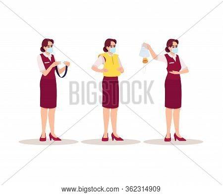 Stewardes Emergency Instructions Semi Flat Rgb Color Vector Illustration Set. Female Airplane Attend