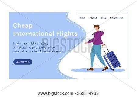 Cheap International Flights Landing Page Vector Template