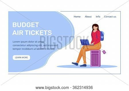 Budget Air Tickets Landing Page Vector Template. Best Travel Deals Website With Flat Illustrations.