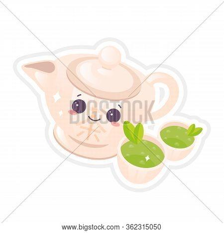 Chinese Tea Ceremony Cute Kawaii Vector Character