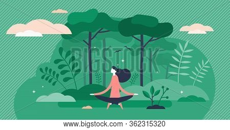 Forest Bathing Vector Illustration. Nature Therapy Flat Tiny Persons Concept. Recreational Ecotherap